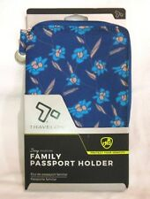 Travelon Family Zip Passport Holder RFID Safe 4 Passports Blue Print NWT
