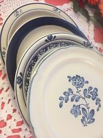 8 Vintage Mismatched China Ironstone Dinner Plates Cobalt Blue Transferware #282