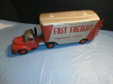 Vintage Tin Friction Tractor Trailer Truck Fast Freight Continental Express