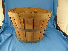 Antique Bushel Basket thin slats paper lining 1/2 bushel apples peaches veggies