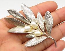 MMA 925 Sterling Silver - Vintage Pearl Flower Bud Detail Brooch Pin - BP1800