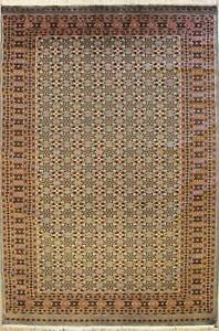 Rugstc 6x9 Bokhara Jaldar Grey Area Rug, Hand-Knotted,Geometric with Silk/Wool
