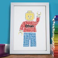 Personalised Word Art Lego Figure Character Print Girls Boys Frame Gift