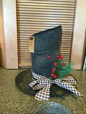 Primitive Snowman Frosty hat/Christmas decor/shelf sitter