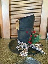 Primitive Snowman Frosty hat/Christmas decor/shelf sitter