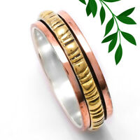 Statement Spinner Ring 925 Sterling Silver Band Meditation Yoga Jewelry 7""