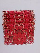 "Red Fancy Embroidered Cutwork Placemats 12"" x 18"" Set of 4 Tablecloths Flowers"