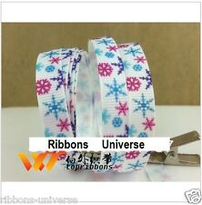 2 meter 3/8 9mm white snowflakes  printed grosgrain ribbon hairbow