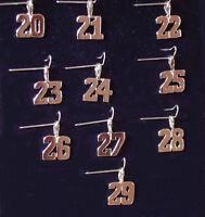 Gold Number Charm Pendant Jersey Number 24k GP NASCAR NFL NHL NCAA 20 thru 29