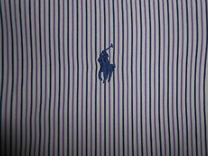 Ralph Lauren Polo Mens Designer White Purple Striped Dress Shirt 17 34/35 SPOT