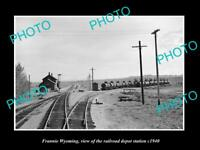 OLD LARGE HISTORIC PHOTO OF FRANNIE WYOMING, THE RAILROAD DEPOT STATION c1940