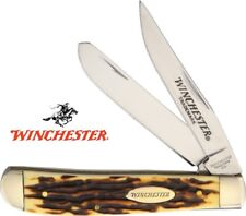 """Winchester 3-1/2"""" Trapper Pocket Knife - Imitation Stag Handle NEW WN14072CP"""
