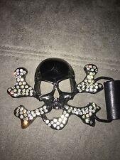 💀 With Rhinestones Belt Black & Brown brand Skull
