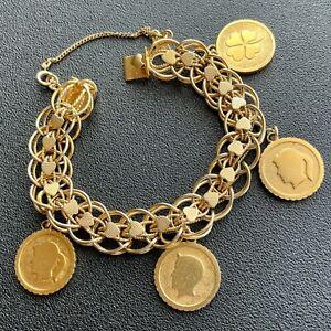 Signed MONET Vintage Gold Tone Charm 1960s Bracelet 803