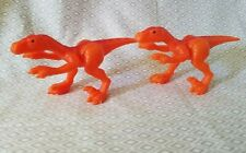 Imaginext 2005 Orange Raptor Figures Lot Dinosaurs Thunder Brontosaurus Playset