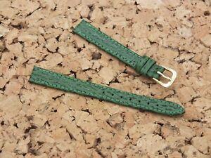 Genuine Leather Shark Calf Ladies Watch Strap 12mm Emerald Green