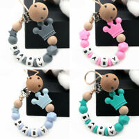 Crown Baby Dummy Pacifier Clips Personalized Silicone Beads Soother Chain Holder