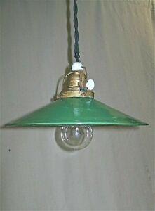 Alt Haengelampe / Werkstattlampe / Industrie Lampe / Email