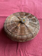 Antique Small Chinese Sewing Basket W/Button On Lid