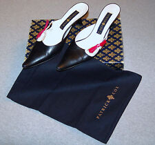 PATRICK COX  Kitten Heel Pointy Mules  - Leather Black White Pink Sz40  $465