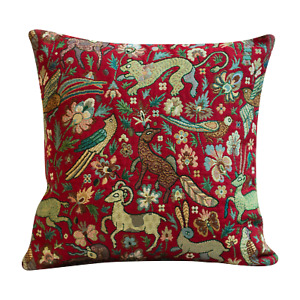 "Tapestry Mythical Animals Red Cushion. Double Sided Morris Style Design. 17x17""."