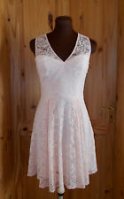 OASIS peach salmon floral lace sleeveless short mini flare tea skater dress 8 34