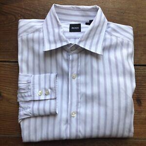 Hugo Boss Men's Size L Button Down Shirt Purple White Striped Long Sleeve