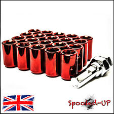 20x RED STEEL WHEEL TUNER NUTS M12x1.25 fits SUBARU NISSAN SUZUKI PEUGEOT