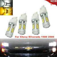 LED Turn Signal Light Bulbs White&Amber Switchback For Chevy Silverado 1500/2500