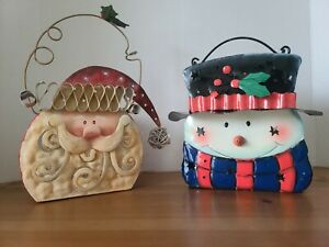 Metal Snowman & Santa  Luminary/Candle Holder