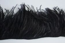 "36"" OSTRICH FEATHER FRINGE - BLACK 3-6"" Craft/Trim/Halloween/Costume/Fashion"