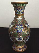 China antigua jarrón Cloisonne old Chinese Cloisonne esmaltes para 1900 floral dorado