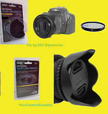 REVERSIBLE FLOWER HOOD+UV+LENS CAP+HOLDER to CAMERA PANASONIC DMC-FZ30 FZ72