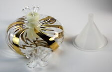 Princess House Crystal Candy Oil Lamp #7470 Gold Stripes NIB