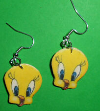 Orecchini creazioni in fimo TWEETY TITTI sagomati earrings fatti mano idea regal