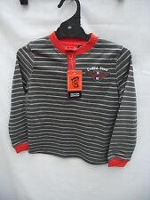 BNWT Boys Sz 6 Fun Spirit Smart Stripe Long Sleeve Henley Style Tee Shirt Top