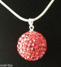 925 Silver Shamballa Red Czech Crystal Pendant- Necklace with 925 Silver Chain