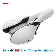 """Sella MV-TEK """"Eden T3"""" Bianca con Foro per bici 20-24-26-28 Tipo Single Speed"""