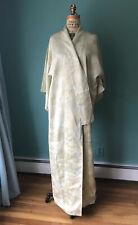Vintage Japanese Silk Kimono Homongi Komon Celadon Pale Jade Green