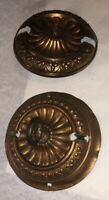 Antique Matching 2 Plate Copper Brass Color Ceiling Pulley Chandelier Ornate