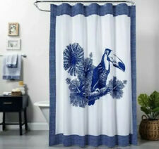 Opalhouse Fabric Shower Curtain Toucan Tropical Blue And White 72 x 72""