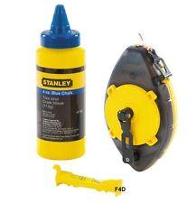 Stanley Power Winder 30m Chalk Line Reel Set Kit Blue Chalk & Level STA047465