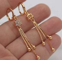 18K Gold Filled - 2.2'' Tassels Chain Flower Clear Topaz Gems Lady Earrings L8