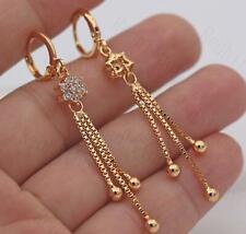 18K Gold Filled - 2.2'' Tassels Chain Flower Clear Topaz Gems Lady Earrings L8