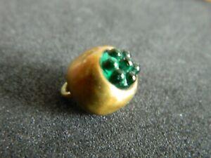 Antique GREEN Dot Glass In Brass Waistcoat CharmString Button Glass in Brass