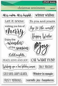 Penny Black Rubber Stamps Christmas Sentiments Clear Stamp Set 30-504 NEW!