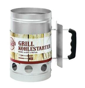 Anzündkamin für Grill mit edlem Holzgriff Kohlestarter Grillanzünder