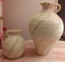 DECORATIVE POTTERY JUG AND URN IN NEUTRAL TONES WITH VEIN DESIGN