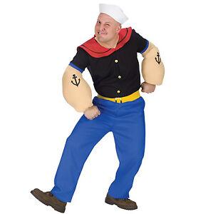 Mens Popeye Sailor Man Fancy Dress Costume Sailorman Fancy Dress Costume