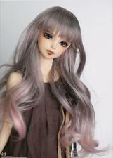"New 9-10"" 1/3 BJD Hair SD doll wig Super Dollfie long Curly gary-pink Kanekalon"